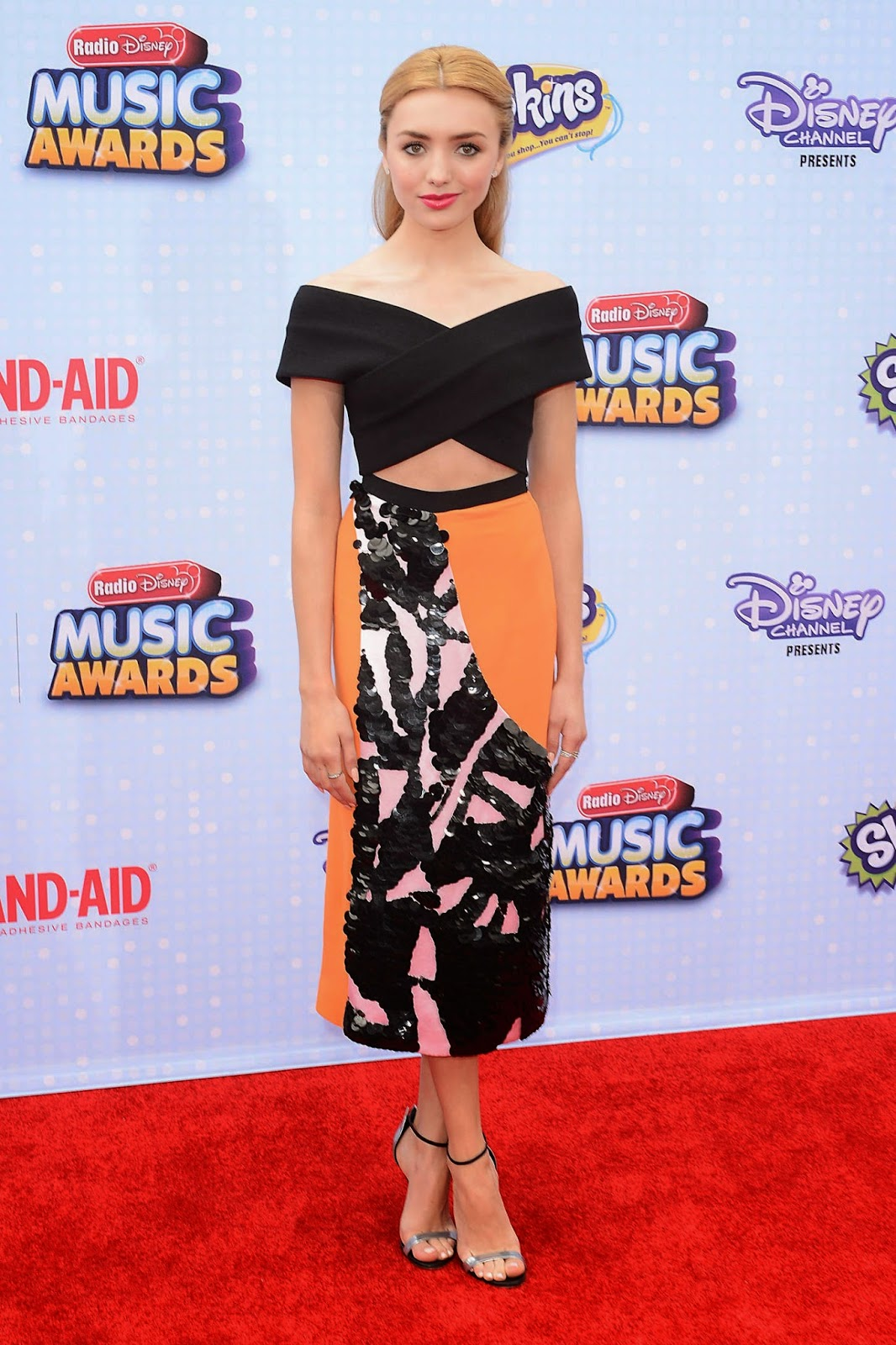 Peyton Roi List in an embellished midi skirt and off-shoulder top at the 2015 Radio Disney Music Awards in LA