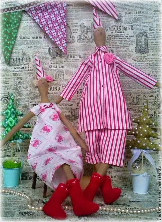 Новый год, санта, пара сант, тильда, подарок, что подарить на новый год, текстильная игрушка