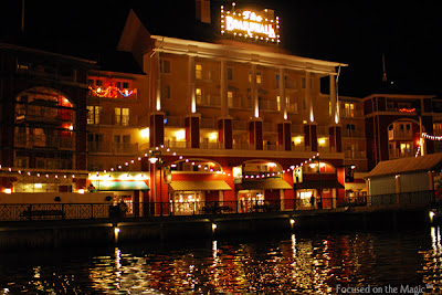 Disney's BoardWalk Resort at night