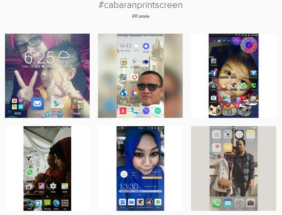 #Cabaranprintscreen Menerusi Instagram