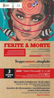 A Bari il 2 il 3 ed il 4 ottobre una straordinaria tre giorni sul femminicidio