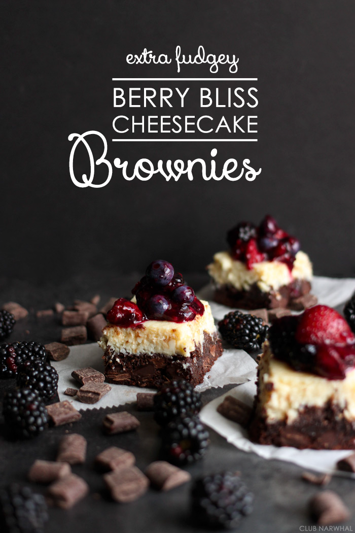 Extra Fudgey Berry Bliss Cheesecake Brownies | Club Narwhal