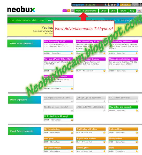 neobux reklam tıklama 1