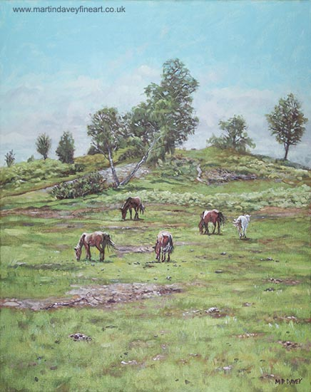 acrylic painting horses on hill new forest