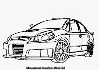 Gambar Mewarnai Mobil Suzuki SXForce