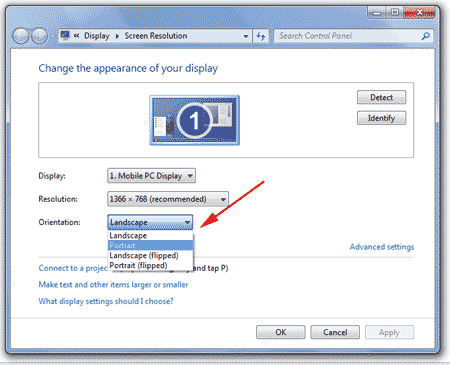display orientation windows 7