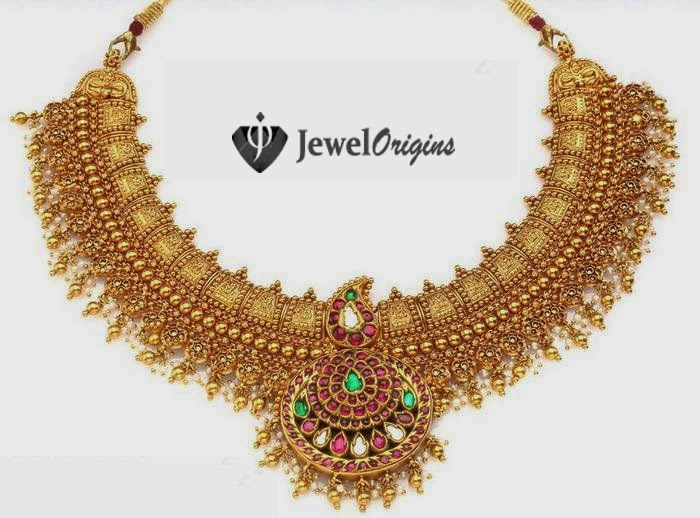 gold south necklace jewels designer india indian ans jewellery