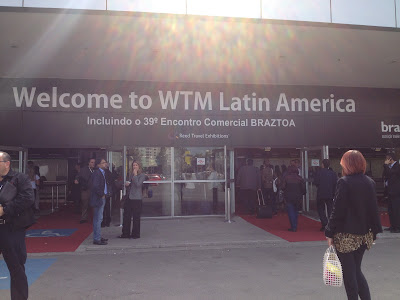 Entrada principal do Transamerica Expo Center em São Paulo durante a WTM
