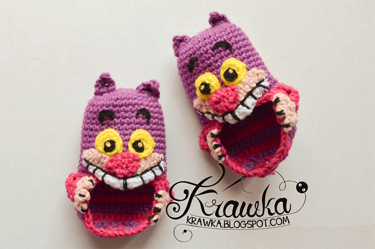 Cheshire Cat Amigurumi Crochet Pattern Free : Krawka: Cheshire Cat - Baby Booties + Pattern