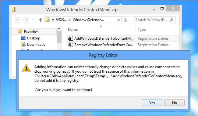 Menambahkan menu konteks 'Scan with windows Defender'