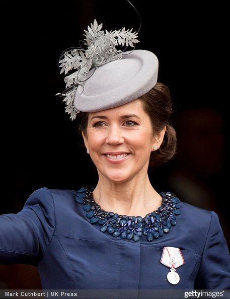 Crown Princess Mary of Denmark leaves the Town Hall after lunch during festivities for the 75th birthday of Queen Margrethe II Of Denmark