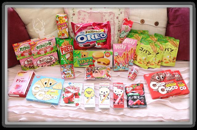 Candysan Japanese Candy Haul Review nissin Meiji Crisp copan strawberry chocolate hello kitty fran gumi kabaya rilakkuma pocky oreo pretz