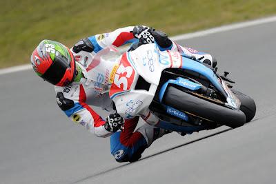 Held rider equipment is worn by Superstock 1000 racer Joe Burns