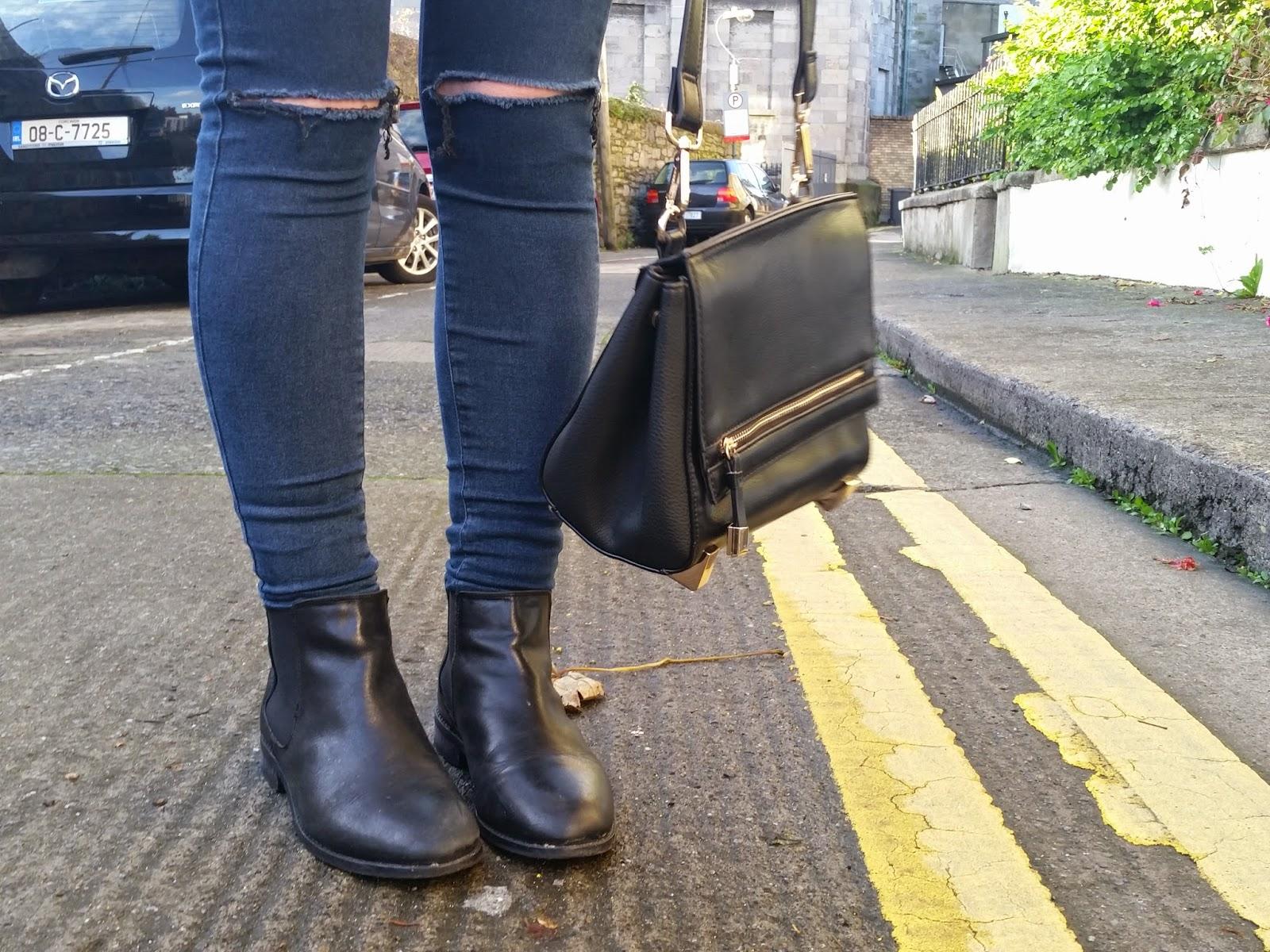asos airtime chelsea boots topshop cross body bag