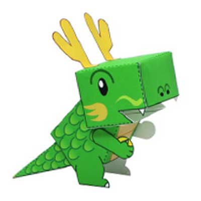 Green dragon papercraft toy