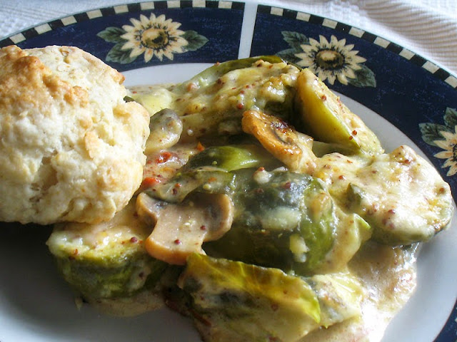 brussels sprout and mushroom gratin with Dijon Mornay sauce