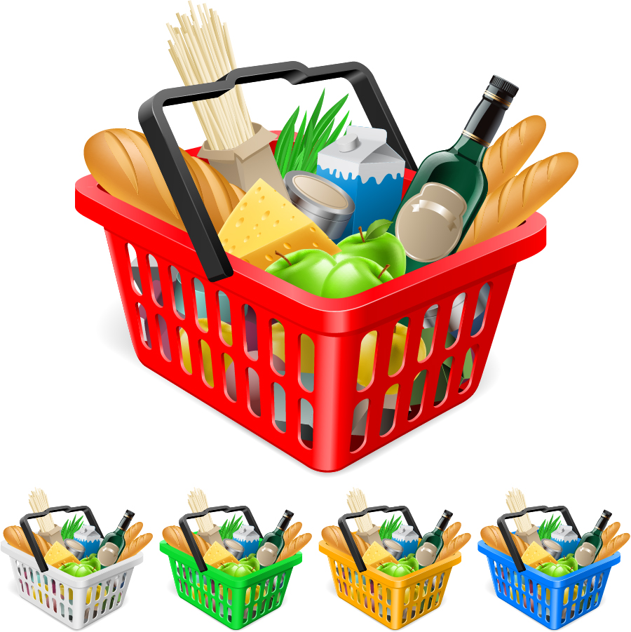Vector Clipart Shopping Basket : Fruits and vegetables ping basket