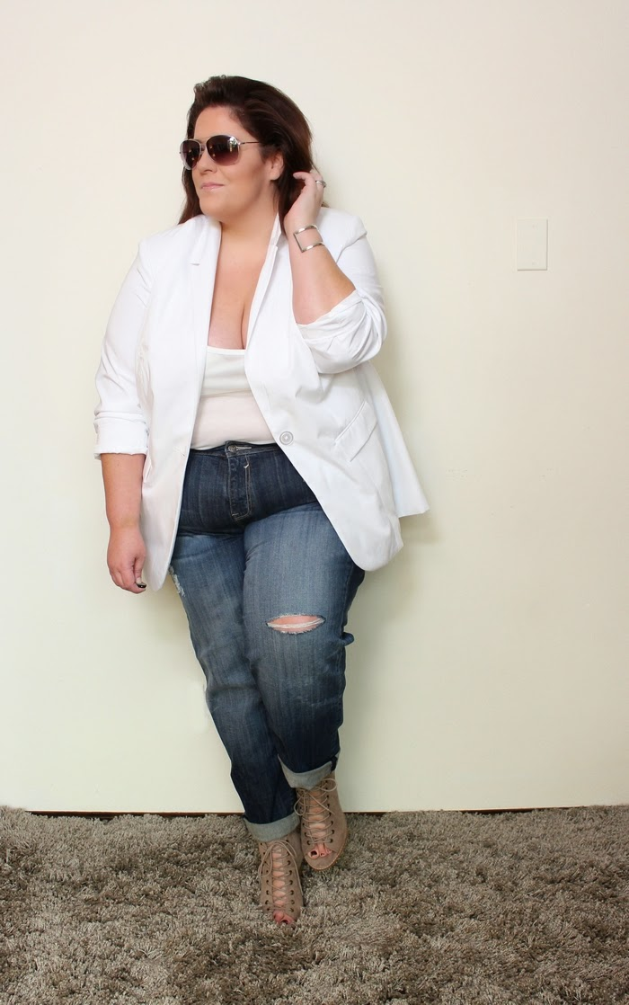 the ultimate white plus size boyfriend blazer look - life and