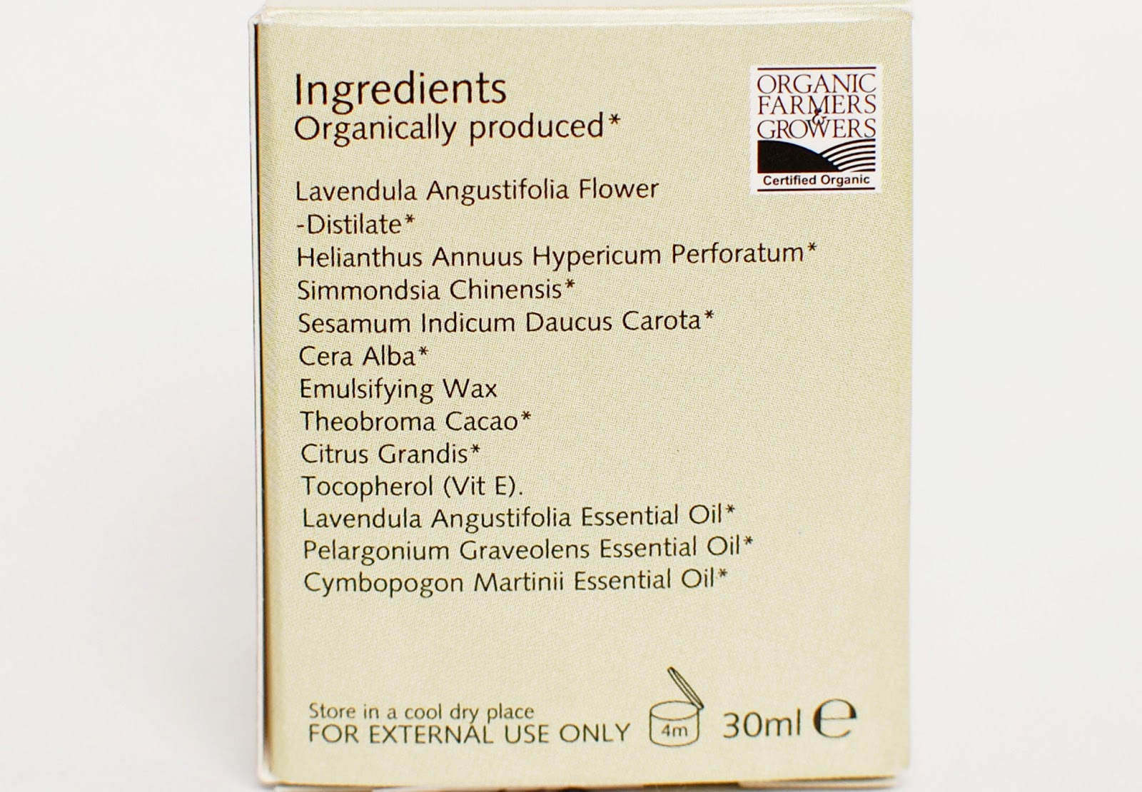 Trevarno Organic Day Cream ingredients