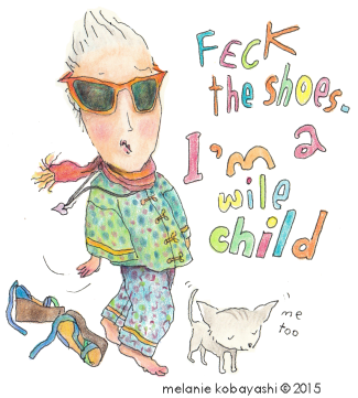 Melanie Kobayashi, cartoon, sketch, feck the shoes