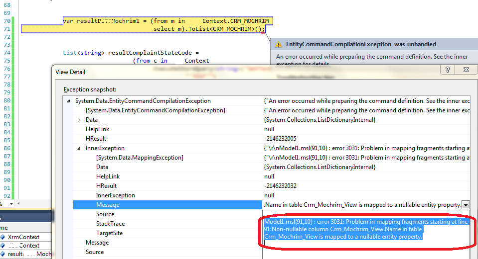 "How to Fix the Entity Framework error ""Problem in mapping fragments"""