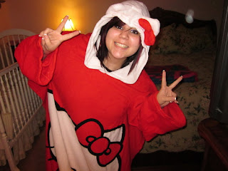 Hello Kitty snuggie warm cozy throw with sleeves and ears - close up of hood