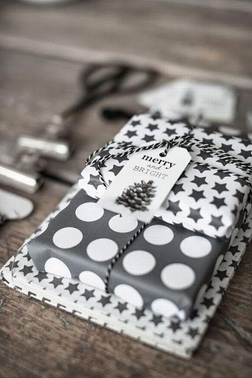 Christmas gift wrapping elegant black and white with polkadot starts