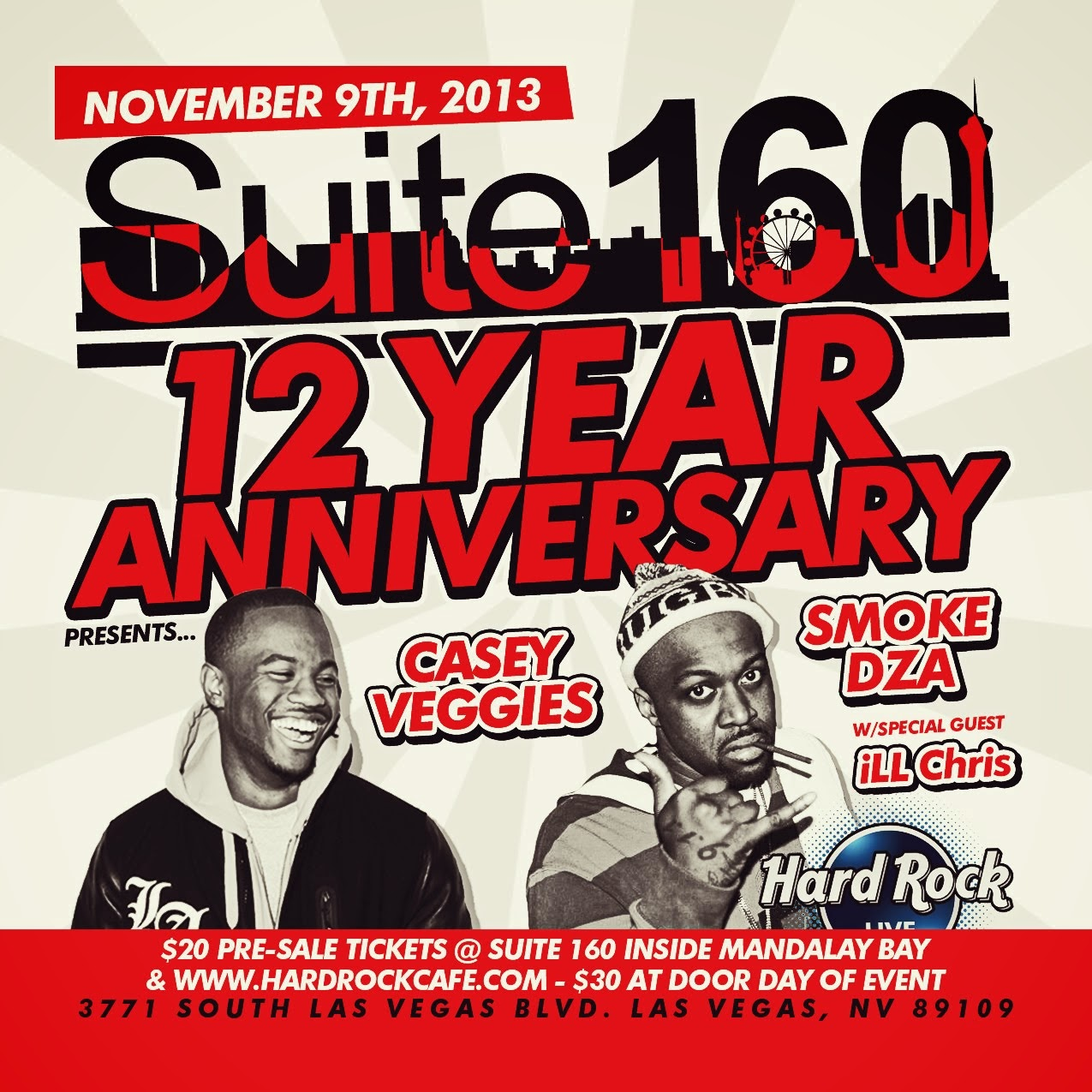Casey Veggies & Smoke DZA | Nov 9th @ Hard Rock Cafe Strip ONLY $20 Online