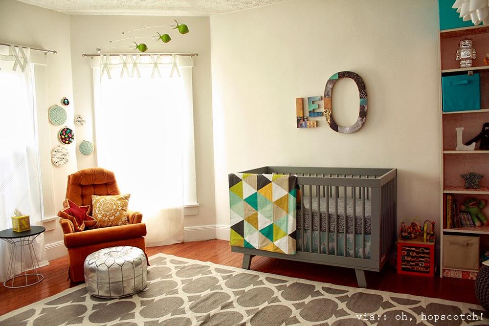 oh, hopscotch!: leo's space-inspired space (baby boy nursery)