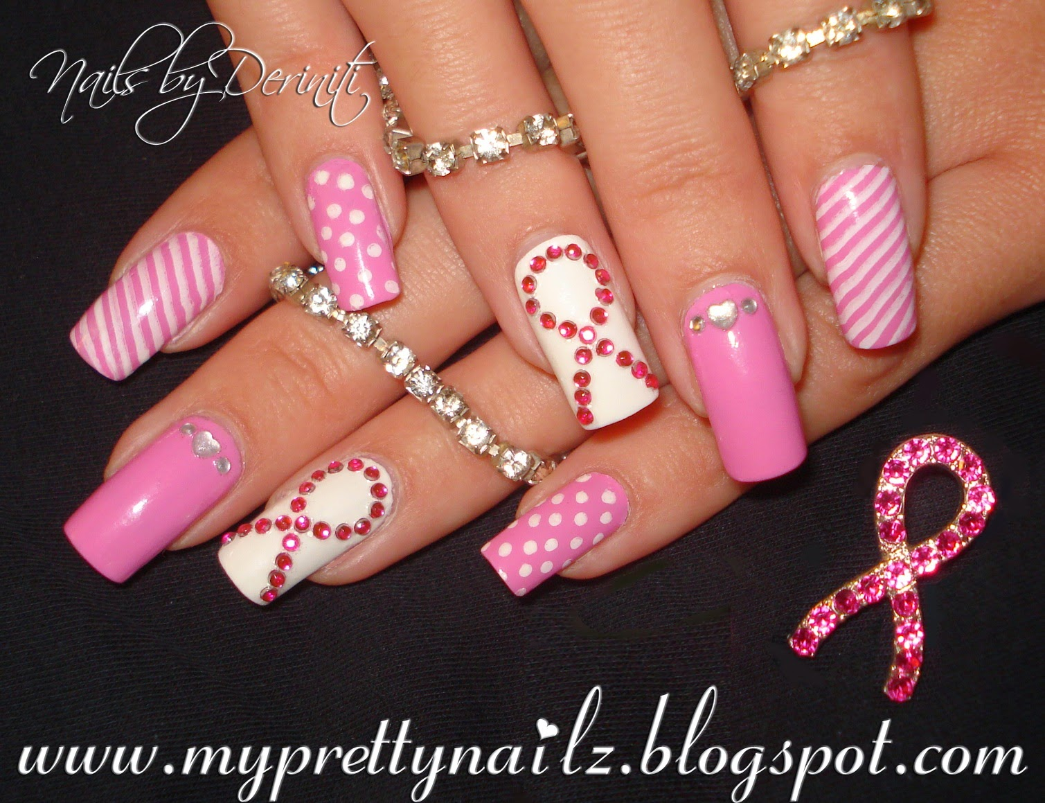 My Pretty Nailz: THINK PINK Breast Cancer Awareness Nail Art Design ...