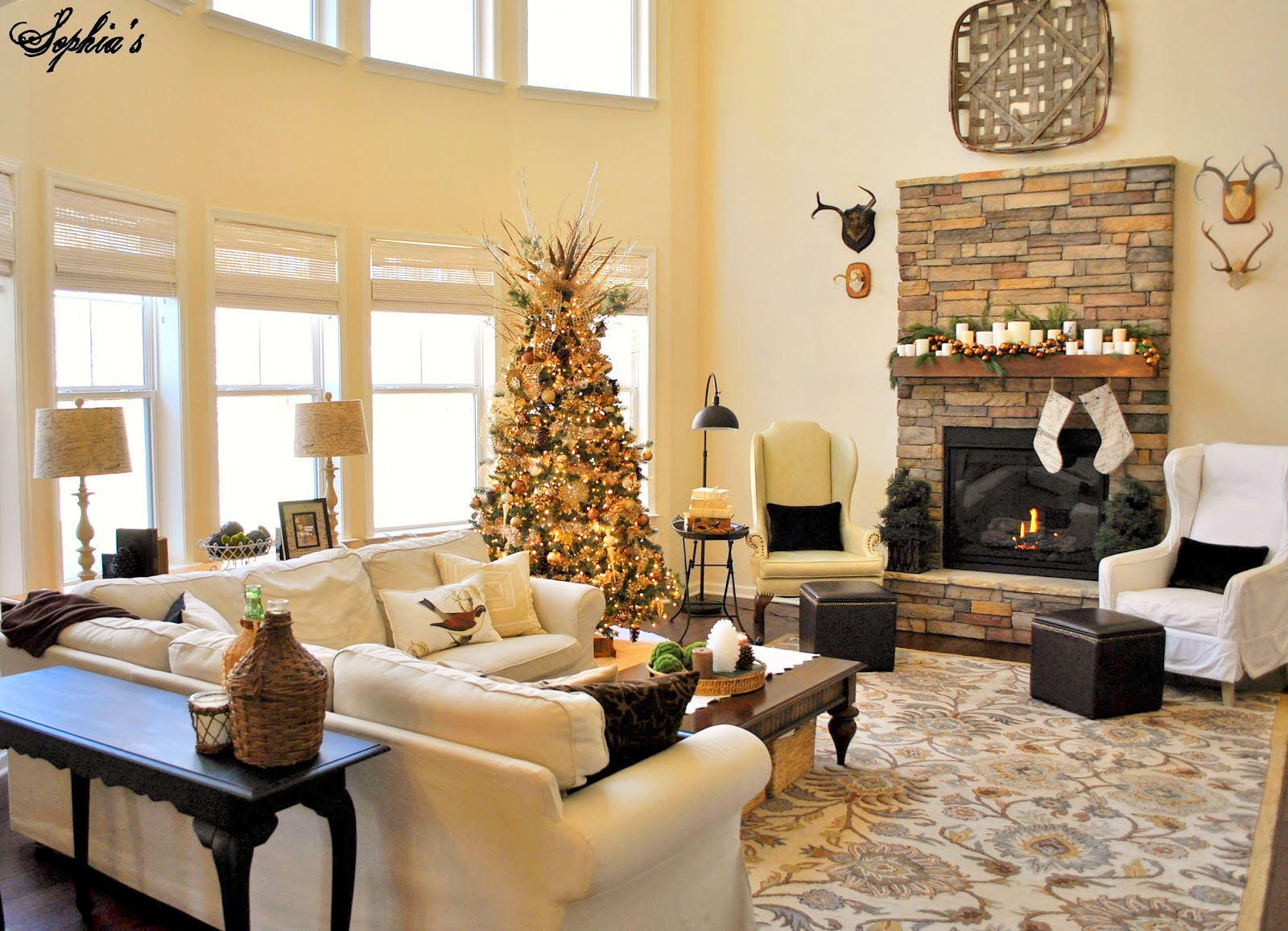 great room rustic christmas