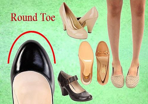 Bagian Depan Sepatu Wanita, Round Toe