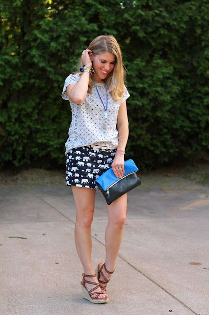eyelet top and printed elephant shorts