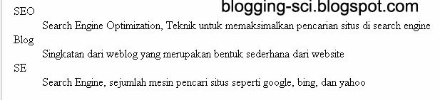 hasil dari definition list
