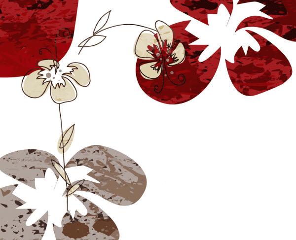 Flores en rojo y marron