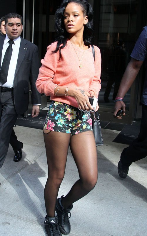 Rihanna new york city topshop floral hot pants