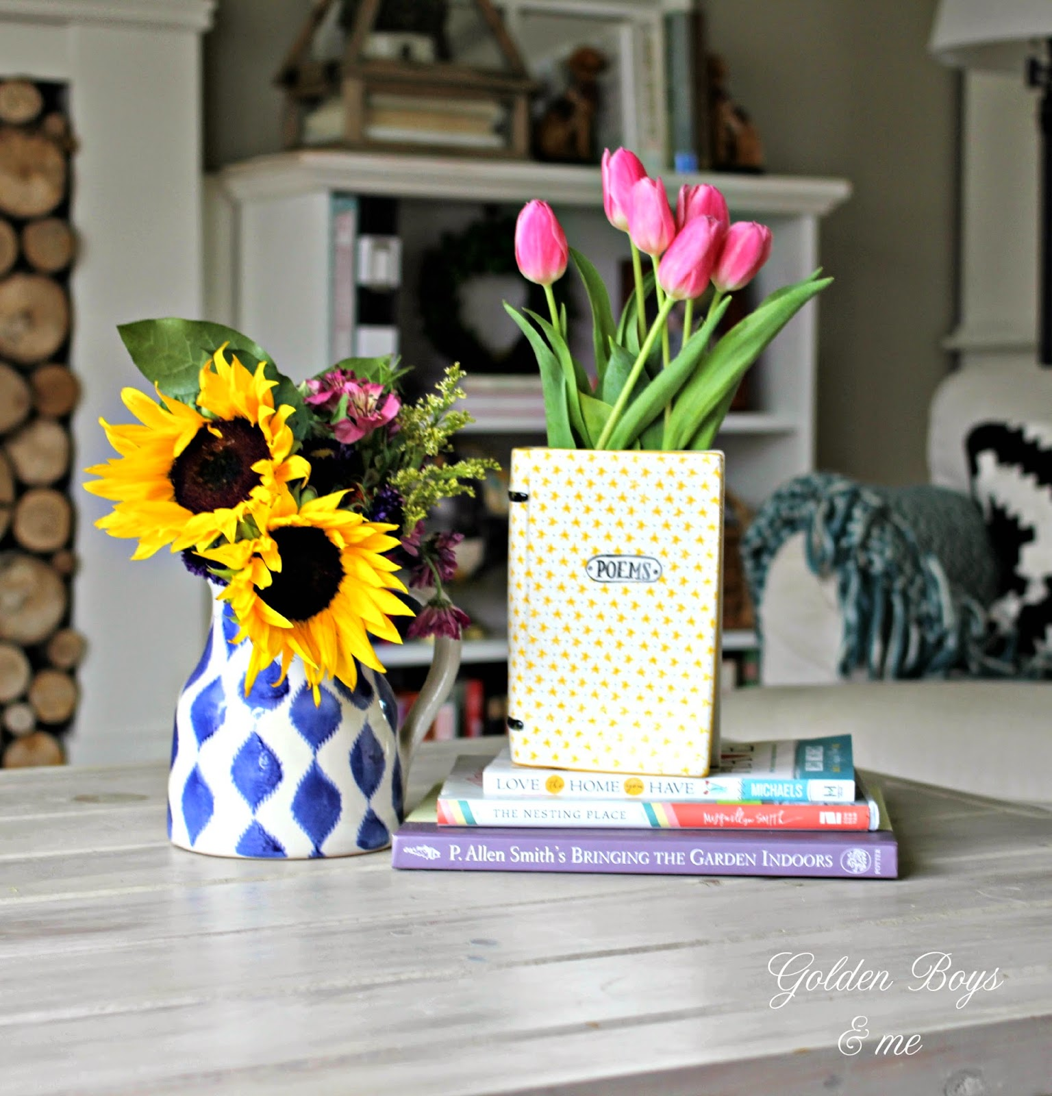 Poems verses vase from Anthropologie with spring tulips-www.goldenboysandme.com