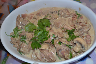 chicken livers with bacon and mushrooms