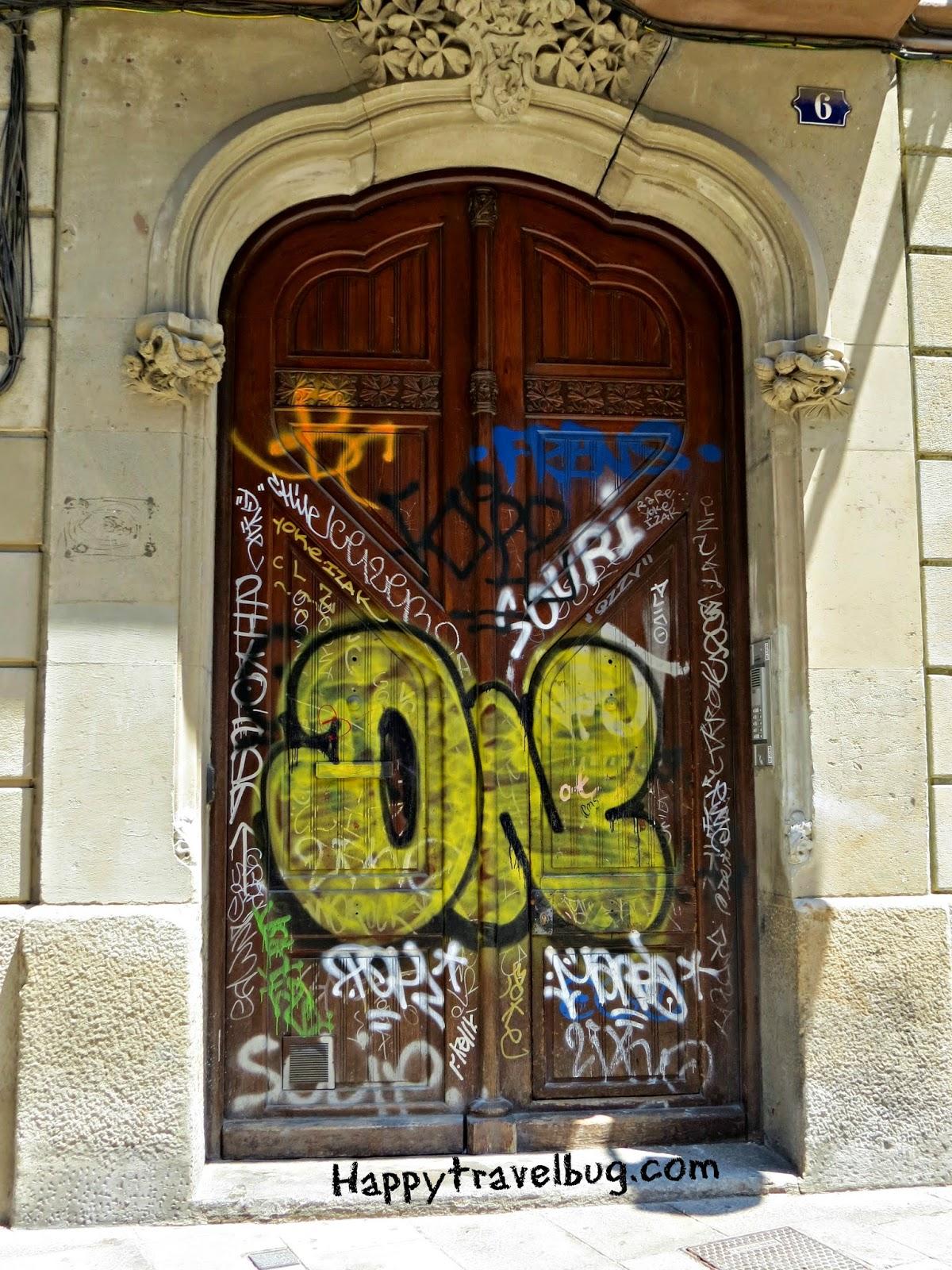 Graffiti door in Barcelona, Spain