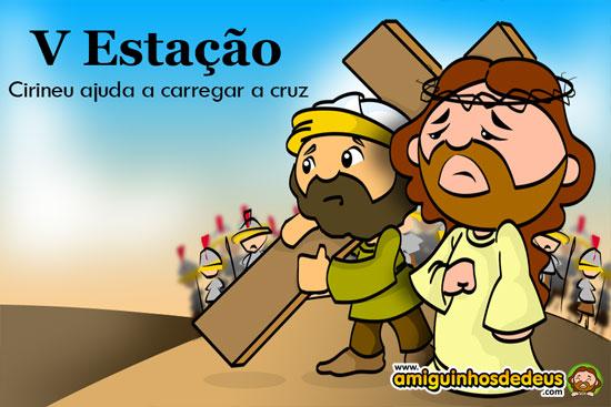 via sacra  Cirineu ajuda a carregar a cruz