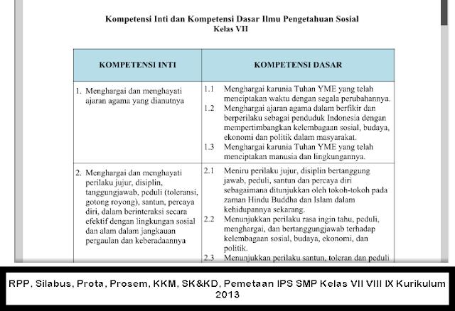 RPP, Silabus, Prota, Prosem, KKM, SK&KD, Pemetaan IPS SMP Kelas VII VIII IX Kurikulum 2013