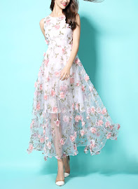 New 2016 3-D Pink Floral Summer Party Dress