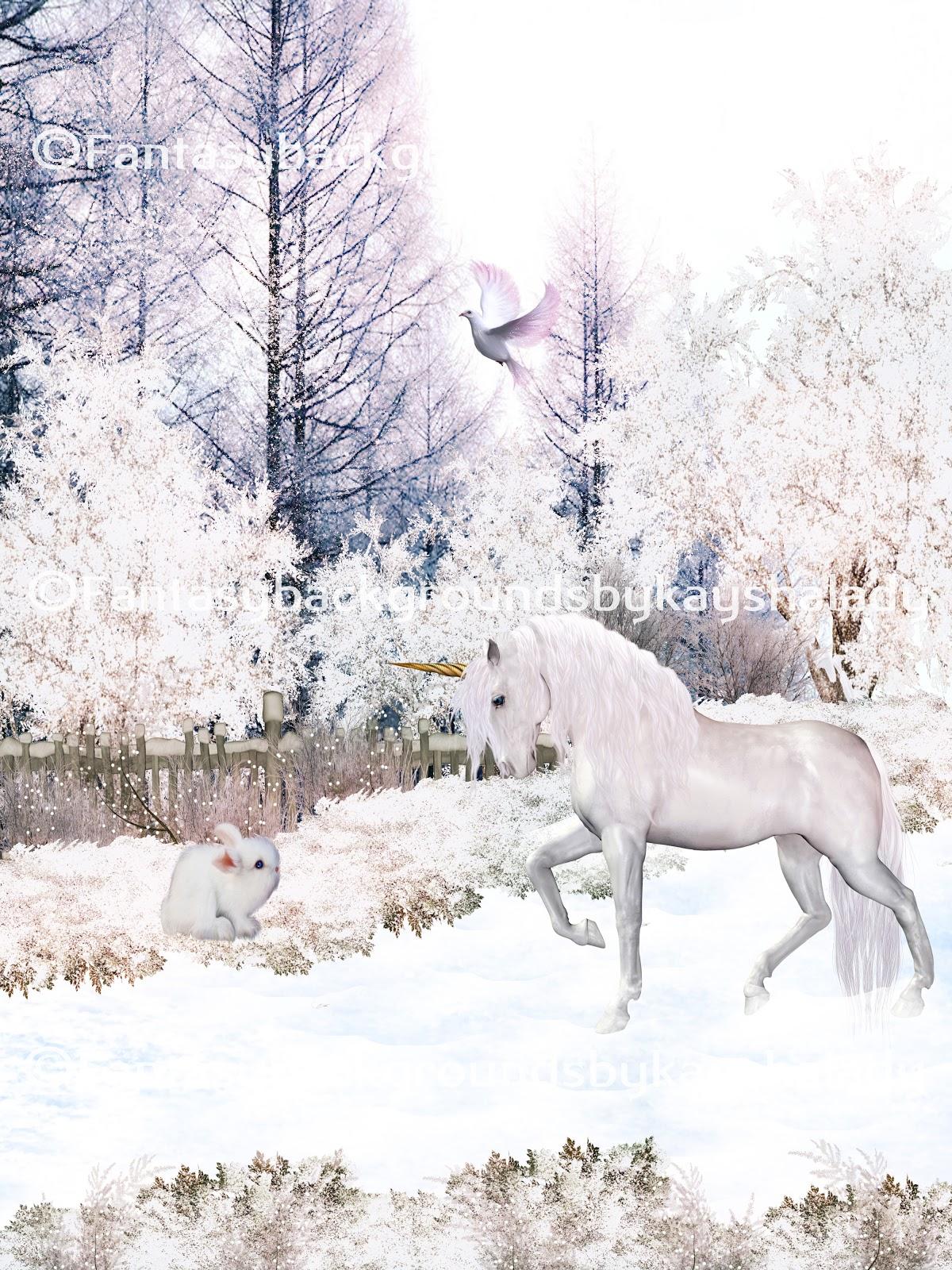 digiartkayshalady: unicorn winter digital fantasy backgrounds
