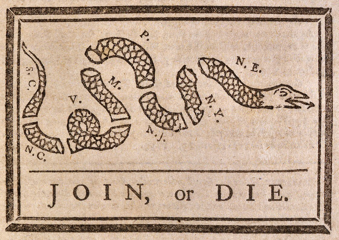 Join Or Die Snake Only Join Or Die Political ...