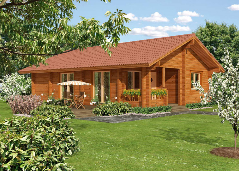 Smartly designed wooden bungalow with huge living room for Timber frame bungalow