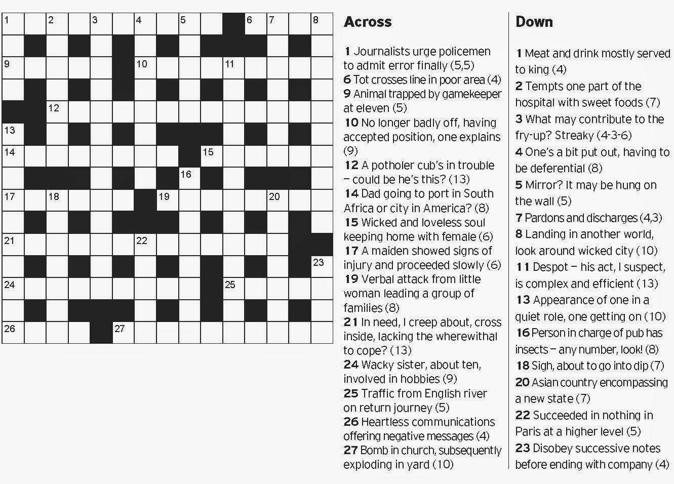 saturday telegraph crossword answers pets world