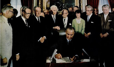 Johnson signing Voting Rights Act of 1965