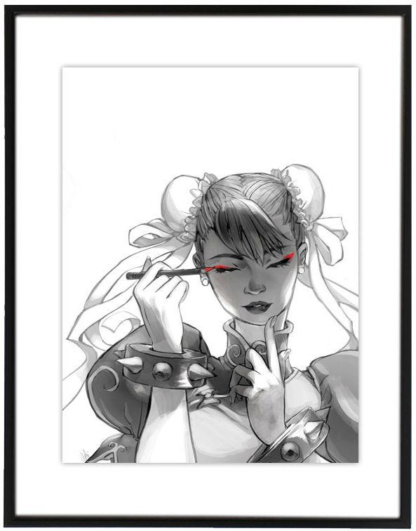 Chun-Li maquillándose