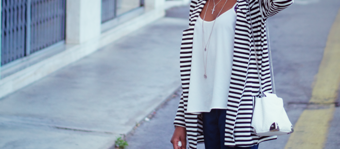 inch2thepoint blog, SimonJVMEDIA Photography, River island boyfriend striped blazer, Zara TRF mini white bag