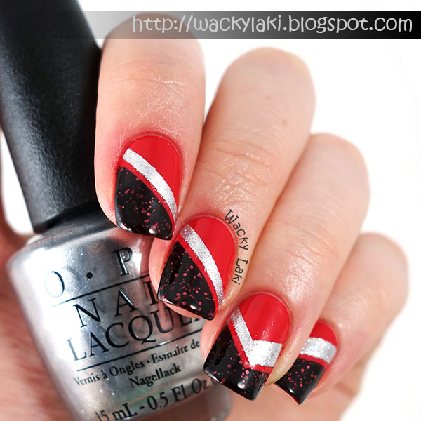 Wacky laki coca cola racing stripes to create this manicure i started out with a base of opi coca cola red i taped off desired sections using striping tape and then added the silver opi my prinsesfo Gallery